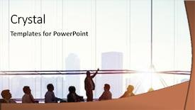 Colorful PPT theme enhanced with meeting room business meeting leadership backdrop and a cream colored foreground