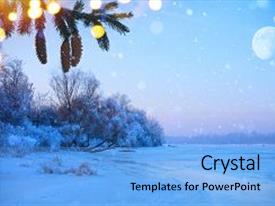 Colorful slides enhanced with merry christmas and happy new year greeting background winter landscape with snowy christmas trees and holidays light backdrop and a light blue colored foreground.