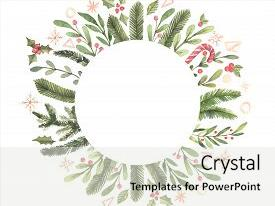 Colorful PPT theme enhanced with merry christmas winter watercolor circle label with snowflakes holly mistletoe spruce branch hand drawn illustration perfect for invitations greeting cards prints posters advertising backdrop and a  colored foreground.