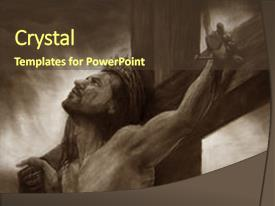 PPT theme consisting of messiah on the cross background and a tawny brown colored foreground.