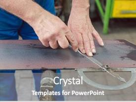 PPT theme having metering - metalworker with angle meter measuring background and a gray colored foreground