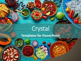 Presentation theme consisting of mexican food mix copyspace frame background and a ocean colored foreground.
