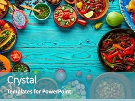 Colorful presentation theme enhanced with mexican food mix copyspace frame backdrop and a teal colored foreground