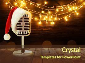 Beautiful presentation design featuring microphone with santa hat and garland on background christmas music concept backdrop and a tawny brown colored foreground.