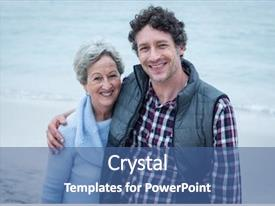 Beautiful slide deck featuring mid adult man with mother backdrop and a ocean colored foreground