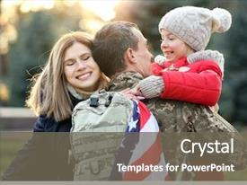 Audience pleasing presentation theme consisting of military - usa soldier hugging his family backdrop and a gray colored foreground