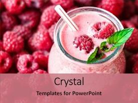 Presentation design with detox - milk shake with berries background background and a coral colored foreground.