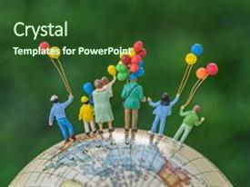 Beautiful PPT theme featuring miniature people figure back view of happy family holding balloons standing on globe as world climate change environment or happy family concept backdrop and a tawny brown colored foreground.