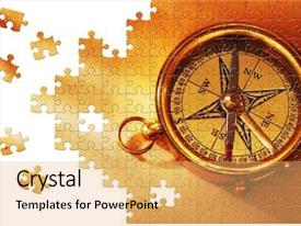 Presentation design featuring missing piece - puzzle antique brass compass background and a yellow colored foreground