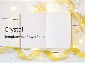 Beautiful PPT layouts featuring mockup christmas or new year frame composition mockup of book and golden christmas decorations on wooden background holiday and celebration concept for postcard or invitation top view backdrop and a  colored foreground.