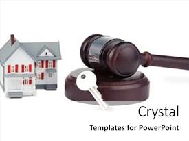 Beautiful PPT layouts featuring model and a brown gavel backdrop and a white colored foreground