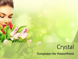 Theme enhanced with model woman with spring flower background and a yellow colored foreground.