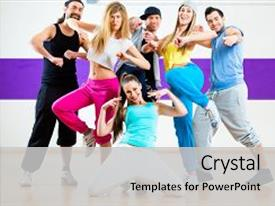 Zumba powerpoint templates ppt themes with zumba backgrounds presentation design featuring modern group choreography in dance background and a light gray colored foreground toneelgroepblik Choice Image