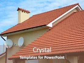 Audience pleasing slide set consisting of modern house with chimney red clay tiled roof and gable and valley type of roof construction building attic house construction with different types of roof designs roofing construction backdrop and a violet colored foreground.