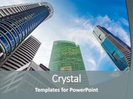 Presentation theme consisting of modern office buildings skyscraper business background and a gray colored foreground.