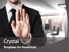 Presentation theme consisting of modern office room hand stop background and a dark gray colored foreground.