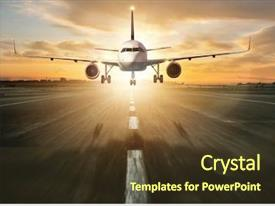 Colorful presentation theme enhanced with modes - commercial jetliner landing on runway backdrop and a tawny brown colored foreground