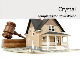 Beautiful theme featuring money and gavel real estate backdrop and a white colored foreground.