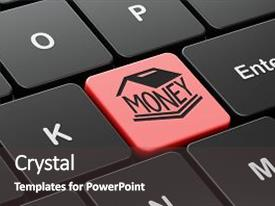 Colorful PPT layouts enhanced with money concept computer keyboard with money box icon on enter button background 3d rendering backdrop and a dark gray colored foreground