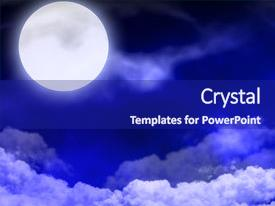 Presentation design enhanced with moon in the nightly sky background and a navy blue colored foreground.