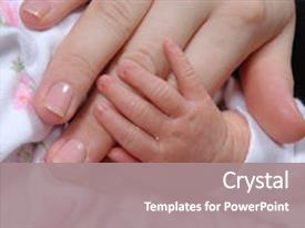 PPT theme having mother and baby s hands background and a  colored foreground.