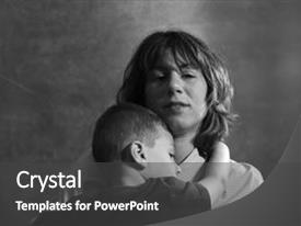 PPT theme consisting of mother and her son background and a dark gray colored foreground.