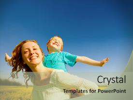 PPT layouts enhanced with single parent family - mother and son having fun background and a mint green colored foreground.