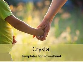 Cool new presentation theme with mother and son holding hand backdrop and a yellow colored foreground