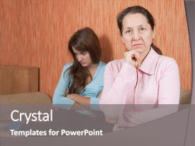 Amazing presentation theme having mother and teen daughter having backdrop and a gray colored foreground.