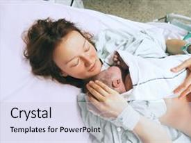 Beautiful PPT theme featuring mother holding her newborn baby backdrop and a light gray colored foreground.