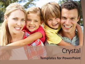 Presentation design with mother son - portrait family outdoors background and a coral colored foreground.