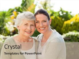 Cool new PPT theme with mother with her daughter looking backdrop and a mint green colored foreground.