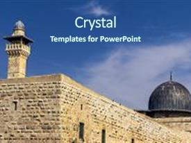 Beautiful PPT theme featuring religion - mount at the old city backdrop and a ocean colored foreground.