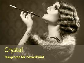 Beautiful slides featuring mouthpiece cigarette smoking lady backdrop and a  colored foreground.