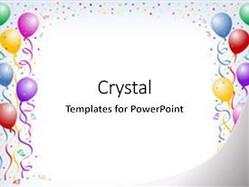 Slide deck with multicorored birthday balloons with confetti background and a white colored foreground.