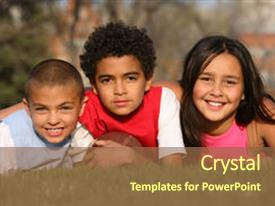 Cool new presentation design with multiracial group of kids backdrop and a tawny brown colored foreground.