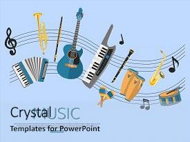 Beautiful presentation design featuring music background with music instruments backdrop and a light blue colored foreground.