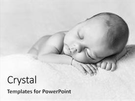 Cool new PPT theme with music cute little child resting backdrop and a white colored foreground.
