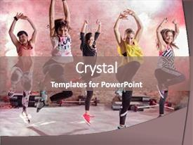 Zumba powerpoint templates ppt themes with zumba backgrounds slide deck consisting of music group of young women dancing background and a gray colored toneelgroepblik Choice Image