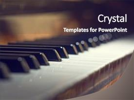 Beautiful presentation theme featuring music - piano keyboard background with selective backdrop and a dark gray colored foreground.