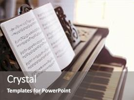 Theme consisting of music sheets on piano background and a gray colored foreground.