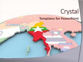 Presentation theme enhanced with myanmar on political globe background and a lemonade colored foreground.