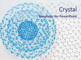 Presentation design consisting of nano particle - nanostructure - 3d - rendered background and a  colored foreground.