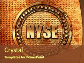 Amazing PPT theme having nasdaq - nyse 3d rendering grunge metal backdrop and a tawny brown colored foreground.