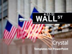 PPT theme enhanced with nasdaq - wall street sign in new background and a gray colored foreground.