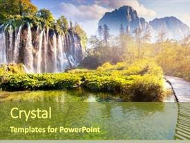 Presentation theme featuring nature - majestic view on waterfall background and a tawny brown colored foreground