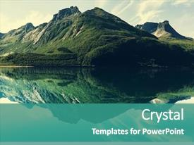 Presentation design enhanced with nature - mountain lake background and a teal colored foreground