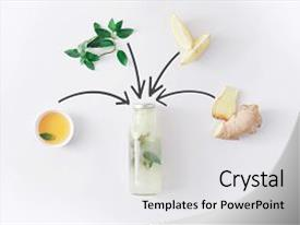 PPT theme enhanced with collage - nature - detox lemonade drink background and a light gray colored foreground.