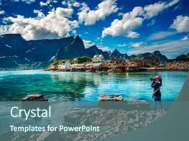 Cool new slides with norway - nature photographer tourist with camera backdrop and a ocean colored foreground.