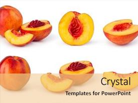 Presentation enhanced with nectarine fruit isolated on white background and a yellow colored foreground